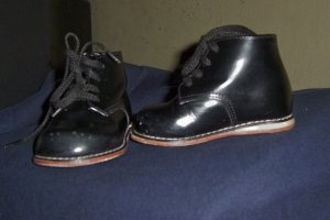 BLACK BABY BOY HIGH TOP SHOES ALL LEATHER WALKER SIZE 3