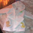 BABYBOYS SOFT WHITE HOODED TERRYCLOTH ROBE w/TIE
