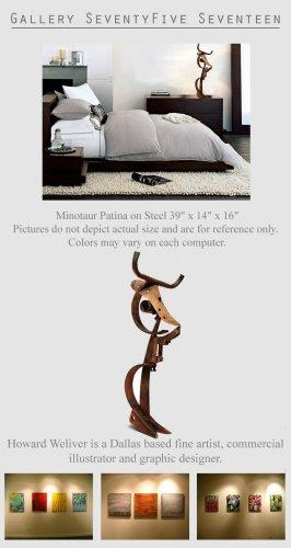 Modern Sculpture Metal Art Minotaur Mythology  GLY7
