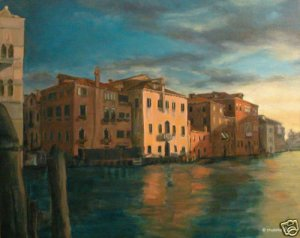 Original Oil Painting Art Realism Venice Landscape GLY7