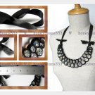 Handmade Statement Crystal Beads Ribbon Bib Necklace V5