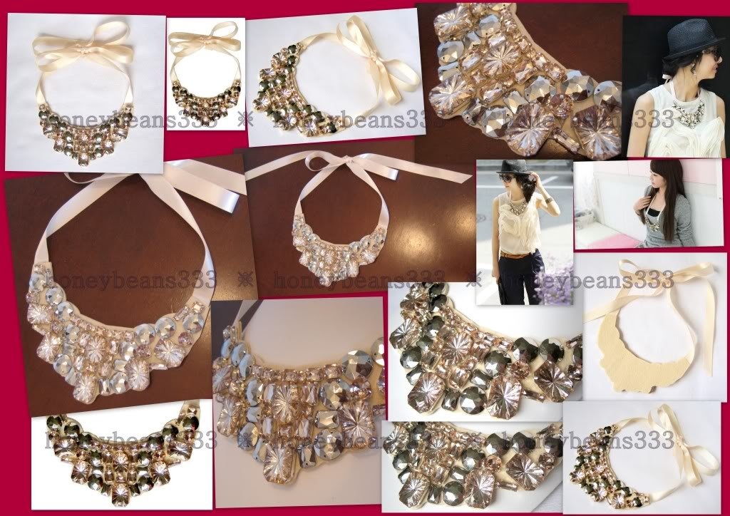 New Handcrafted Beige Rhinestone Ribbon Bib Necklace 61
