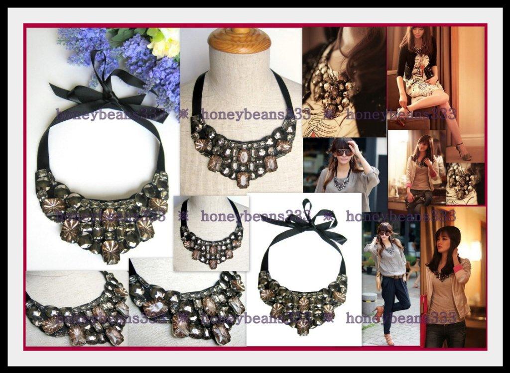 Pretty Black Toffee Rhinestone Ribbon Bib Necklace 81