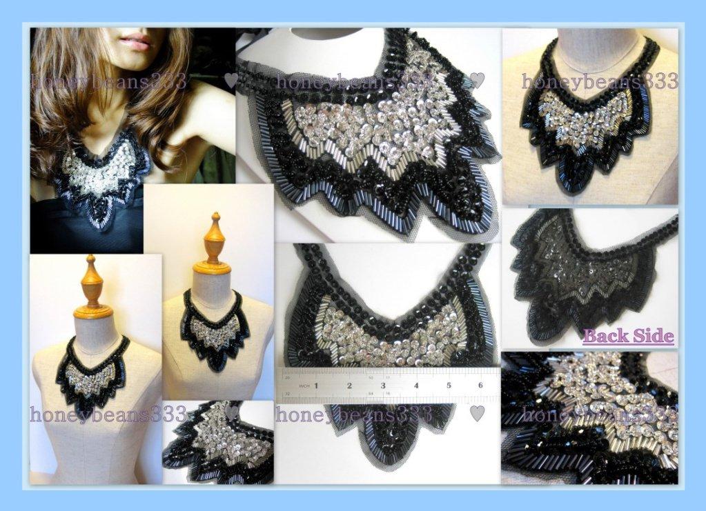 Handmade Statement Bib Necklace Net Black White Bead V9