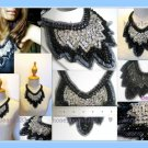 Handmade Statement Bib Necklace Net Black White Bead V9