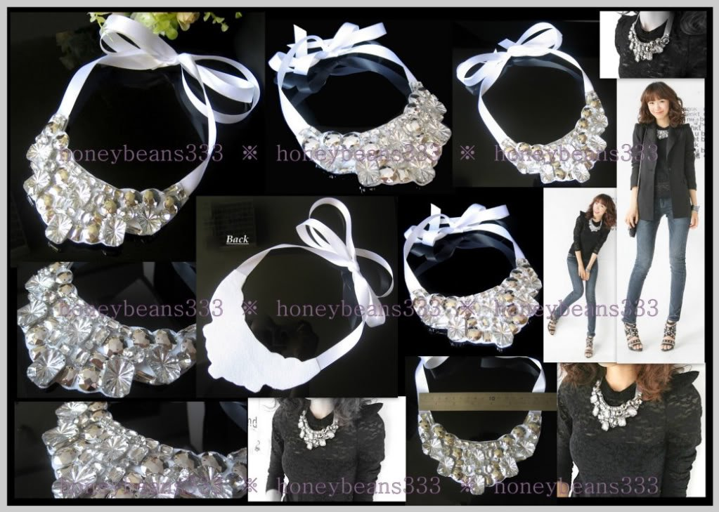 New Handmade White Rhinestone Crystal Bib Necklace 049