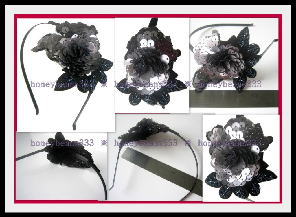 3D Grey Black Sequin HEADBAND Hairband Fascinator H3