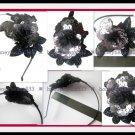 3D Grey Black Sequin HEADBAND Hairband Fascinator H3