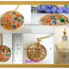 NEW Rhinestone Colorful Enamel Flower Gold Necklace 039