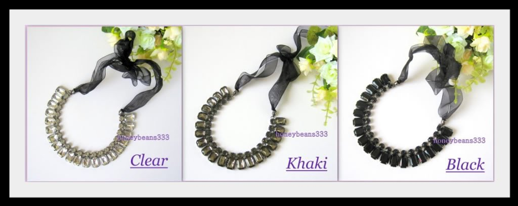 NEW Black Clear Khaki Crystal Ribbon Choker Necklace 23