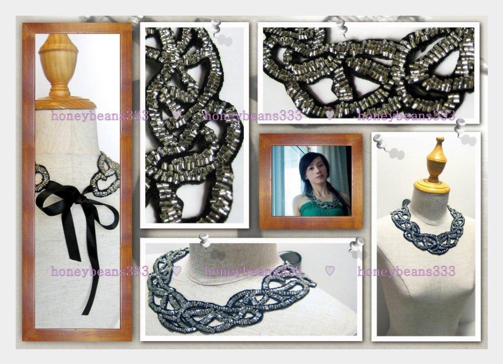 Handmade Statement Bib Choker Necklace Black Silver 053