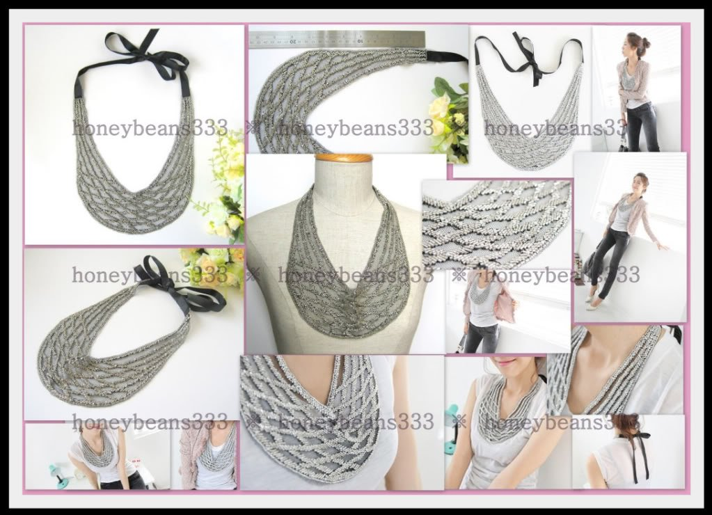 New Trendy Gorgeous Handcrafted Silver Bib Necklace 026