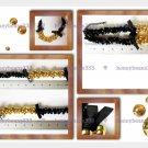 Cluster Gold Bead Black Cocktail Bib Choker Necklace V7
