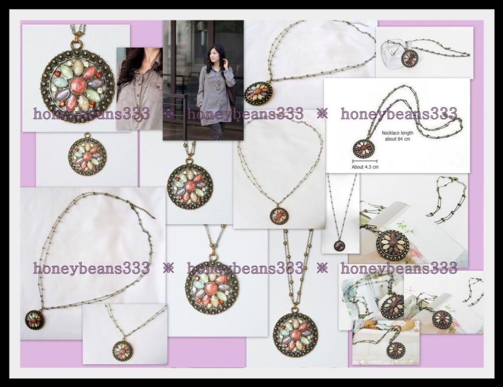 Retro Blue Pink Bronze Color Necklace Resin Flower 015