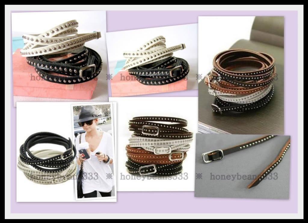 2PC Set Black White Brown Rivet Cuff Bangle Bracelet 02