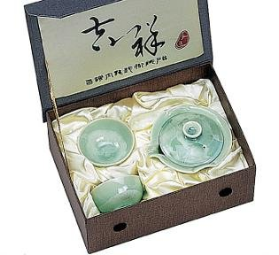 Emerald Green Crystal Small Tea Set