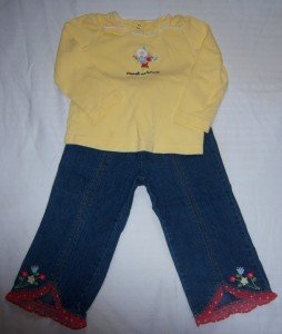 Gymboree WISH YOU WERE HERE Outfit JEAN SHIRT 2T GUC