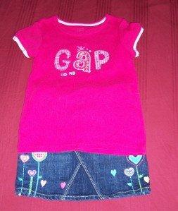 BABY GAP Denim JEAN Skirt Shirt Set 4T 5T Summer FALL