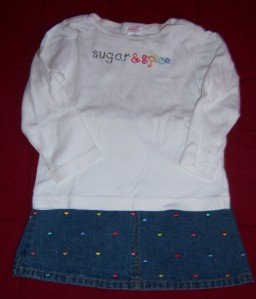 Gymboree SUGAR AND SPICE Jean Skirt Shirt 3 4 EUC FALL