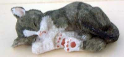 Grey Tabby Snoozer Cat Figurine Sculpture