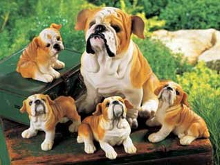 Bulldog Family Mom & 4 Puppies Dog Polyresin Animal Set
