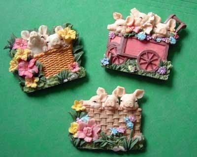 Pig Farm Animal Magnets Lot of 3 Resin 3D