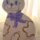Country CAT Purple Bow Wood Hand Painted OOAK