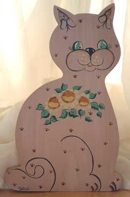 Country CAT Daisy Flowers Wood Hand Painted OOAK