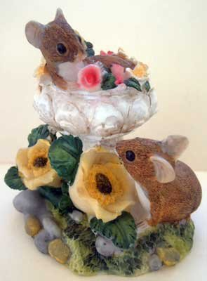 Mice in Flowered Bird Bath Collectible Decor