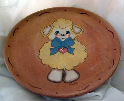Big Blue Bow Lamb Plate Wood Hand Painted OOAK