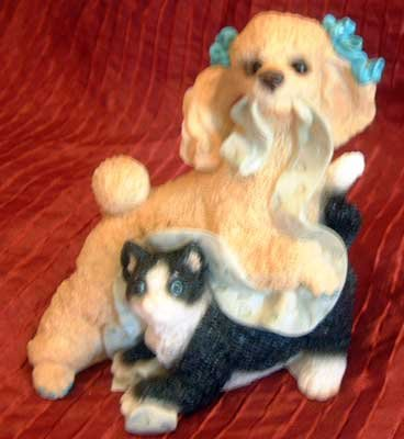 Stone Critters Babies : Poodle & Kitty Play : United Design