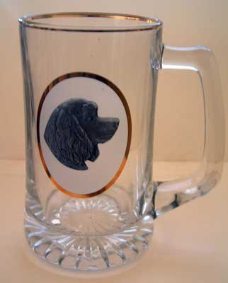 Spaniel Dog Ale Beer Mug Glass w/ Pewter Medallion