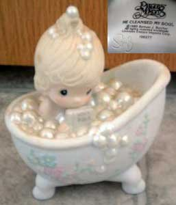 Precious Moments : He Cleansed My Soul : Sam Butcher Signed : Enesco Porcelain