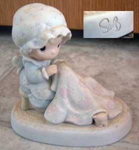 Precious Moments : Love Covers All : Signed Sam Butcher : Enesco Porcelain