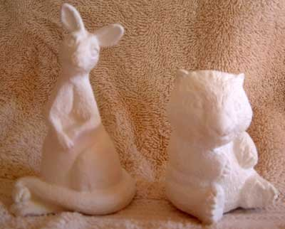 Ceramic Bisque KANGAROO WOMBAT African Animals