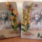 Set of 2 (B) Fairy Pixie Flower Frames Fantasy