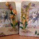 Set of 2 (B) Fairy Pixie Flower Frames Fantasy