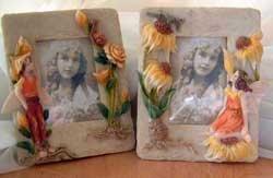 Set of 2 (A) Fairy Pixie Flower Frames Fantasy
