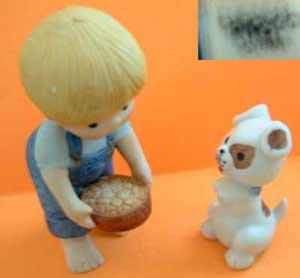 Blonde Haired Boy Feeding Dog Animal Enesco Country Cousins