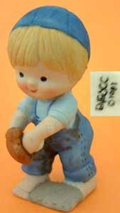 Blonde Boy Playing Baseball in Hat w/Ball Enesco Country Cousins