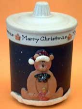 Teddy Bear Holiday Christmas Lidded Candle Jar
