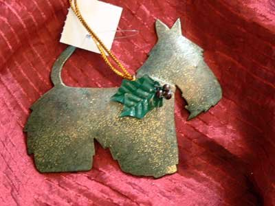 Terrier Dog Metal Glitter Ornament Holiday - NWT