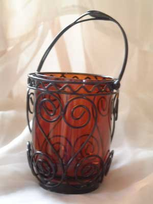 Candle Holder Lantern Amber Glass & CAST IRON Votive Tea Light NEW