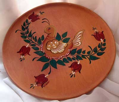 Partridge Bird Tulip Flowers Plate Wood Hand Painted OOAK