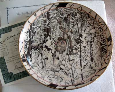 'Where Paths Cross' Wolf Hidden Image Bradford Exchange Collector Plate