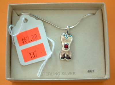 Bonestones Dog Birthstone Charm Necklace NEW Sterling Silver SS July