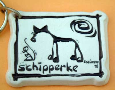 Schipperke Cavern Canine Dog Breed Stoneware Ceramic Clay Key Chain McCartney - NEW