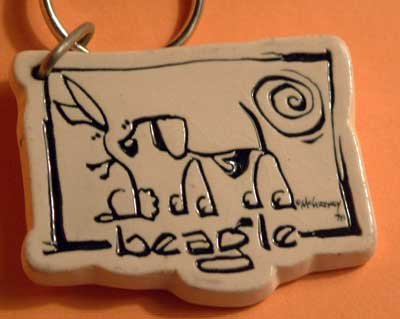 Beagle Cavern Canine Dog Breed Stoneware Ceramic Clay Jewelry Key Chain McCartney - NEW