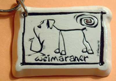 Weimaraner Cavern Canine Dog Breed Stoneware Ceramic Clay Jewelry Key Chain McCartney - NEW