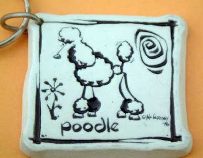 Poodle Cavern Canine Dog Breed Stoneware Ceramic Clay Jewelry Key Chain McCartney - NEW